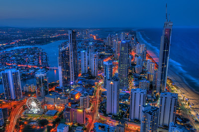 Gold Coast, Australia, at dusk